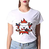 LuoMei Camiseta Estampada Blanca Jersey de Manga Corta con Cuello Redondo para Mujer Camisa con Cuello Redondo de Algodón PuroComo se muestra, XL