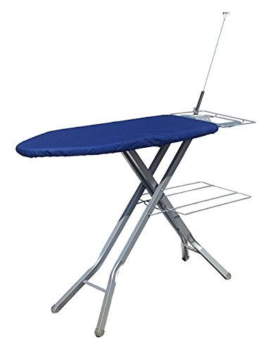 ATHENACREATIONS Steel Folding Ironing Board with Multi-Function Tray(92x39x57-84cm, Blue)