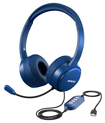 Mpow USB Headset/3.5mm Computer Chat Headset mit Mikrofon Geräuschunterdrückung, PC Headset Wired Kopfhörer Business Headset für Skype, Telefon, Call Center usw. Blau. (Pc Headset Telefon Telefon)