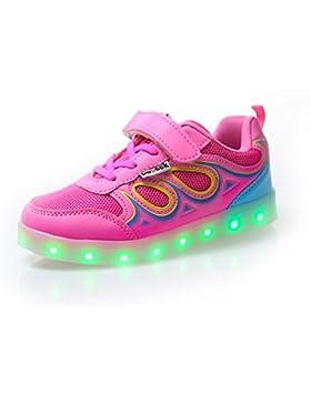 DoGeek Zapatos LED Niños Niñas Negras Blanco 7 Color USB Carga LED Zapatillas Luces Luminosos Zapatillas LED Deportivos...