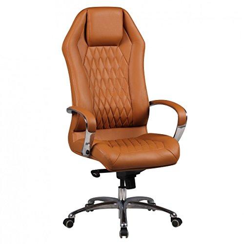 Amstyle Bürostuhl MONTEREY Echt-Leder Caramel Schreibtischstuhl XXL Polsterung Chefsessel hohe...