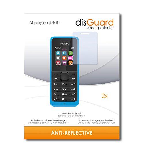 disGuard® Bildschirmschutzfolie [Anti-Reflex] kompatibel mit Nokia New 105 Dual SIM [2 Stück] Entspiegelnd, Matt, Antireflektierend, Extrem Kratzfest, Anti-Fingerabdruck - Panzerglas Folie, Schutzfolie