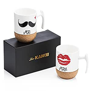 Love-KANKEI Mr and Mrs Tazze di ceramica con base in sughero - Regali di nozze / Regalo di san Valentino uomo - Set di 2 / 10.5 oz