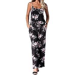 Auxo Femmes Floral Imprimé Jumpsuit sans Manches Taille Haute Casual Combishort Été Long Pantalon Bretelles Romper Noir Taille L/EU 40-42