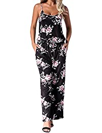 22c4fbffdf Auxo Women Floral Jumpsuit Strappy Sleeveless Loose Waist Casual Playsuit  Summer Long Pants Romper