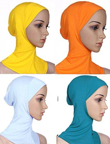 GladThink Musulman Mini Hijab Women Caps Écharpe Islamique 4 Pieces Blanc+lakeBleu+Orange+Jaune