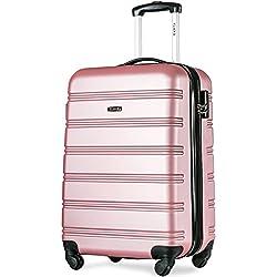 Flieks Hartschale Trolley Koffer Reisekoffer Zwillingsrollen Reisekoffer mit Zahlenschloss Handgepäck mit 4 Doppel-Rollen, XL-L-M (M, Pink)