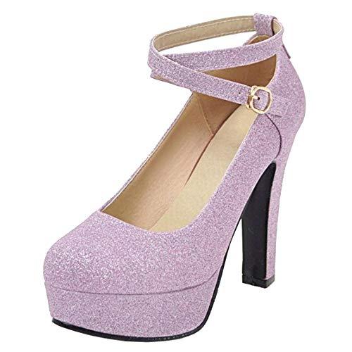 CularAcci Donna Moda con Cinturino alla Caviglia Tacco Alto Pumps Plateau Scarpe Purple Size 39 Asiatico