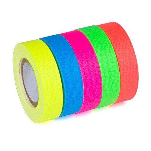 Neon-Gaffer-Tape, für UV-Schwarzlicht, matt, 5 Stück – 8 m, fluoreszierendes Klebeband – mehrfarbig