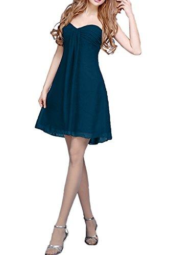 Milano Bride Damen Einfach Traegerlos Abendkleider Brautjungfernkleider Partykleider A-Linie Kurz Mini Navyblau
