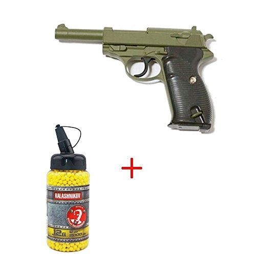 AIRSOFT Galaxy G21?Typ Walther P38?gefedert Farbe 979334/Olive Drab/Flasche von Kugeln 0,12?inkl. Spezialkr?fte/Swat/Cosplay/Leistung 0,5?Joule/(Ausstattung Unteroffizier)