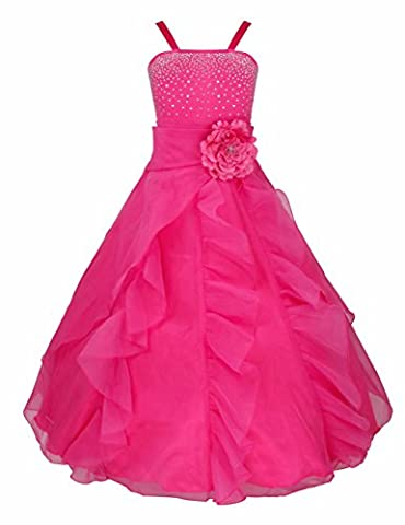 iEFiEL Girl's Flower Dresses Asymmetric Ruffle Organza Wedding Pageant Bridesmaid Dress Rose 14 Years