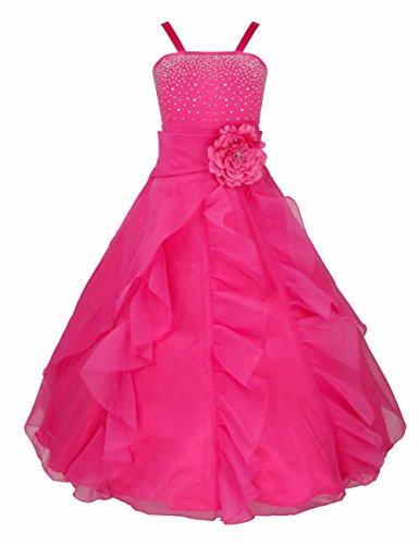 iEFiEL Mädchen Kinder Kleider Festlich Lang Brautjungfern Kleid Prinzessin Hochzeit Party Kleid Gr. 92-164 Rose (Kleid Prinzessin Kind)