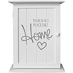 "Wohaga® Armadietto portachiavi ""There is no place like home"", 22 x 29 x 8 cm, con 6 ganci portachiavi, colore bianco"