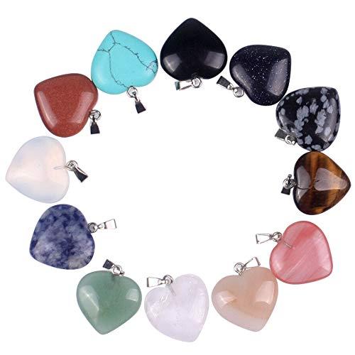 Ciondoli a forma di cuore, 12 pezzi di pietre naturali miste a forma di cuore, perline di cristallo chakra per gioielli fai da te, pietre preziose per braccialetti, con scatola di immagazzinaggio