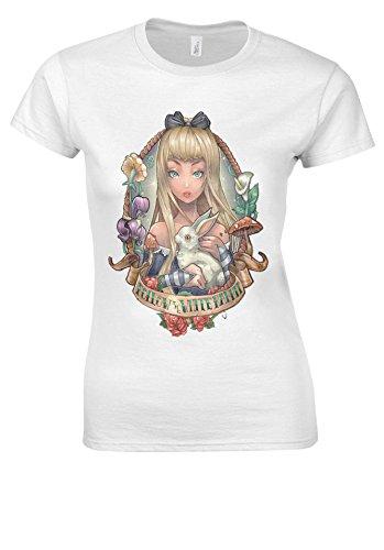 Wonderland Tattoo Rabbit White Women T Shirt Top-S ()