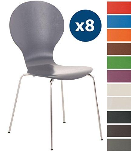 CLP 8 x Stapelstuhl Diego l Ergonomisch geformter Konferenzstuhl mit Holzsitz und Metallgestell I Stapelbarer Stuhl mit pflegeleichter Sitzfläche Grau