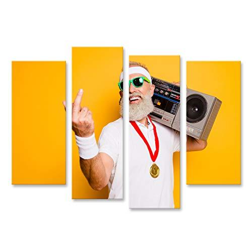 bilderfelix® Bild auf Leinwand Verrückt gealtert unhöflich sportlich lustig sexy Athlet Opa in Brille mit Rekorder Old School Swag, der um Gymnastik Workout Technologie Groove Stereo Sound Funky F