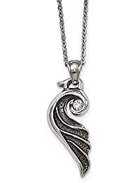 Stainless Steel Antiqued and Polished Wing Necklace - 46 Centimeters