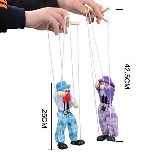 M Kinder Klassische Lustige Holz Clown Pull String Puppe Vintage Joint Aktivität Puppe Spielzeug Kinder Nette Marionette Farbe Zufällig ()