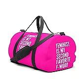 Yesliy Feminist is My Second Favorite F-Word (Pink) Sporttasche Reisetasche Handgepäck für Frauen und Männer