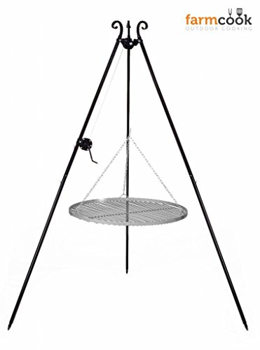 Dreibeingrill Höhe 192cm mit Kurbel und Stahlrost Durchmesser 60cm