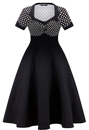 Eudolah Robe vintage à pois boutonnée avec manches courte style vintage Femme Noir blanc pois
