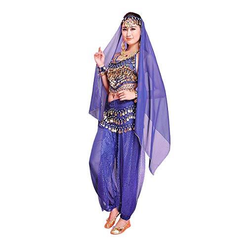 Minliday danza del ventre in chiffon, 7 prezzi set di costume travestimento donna ragazza per danza indiana per carnevale, halloween, cosplay, mazarine