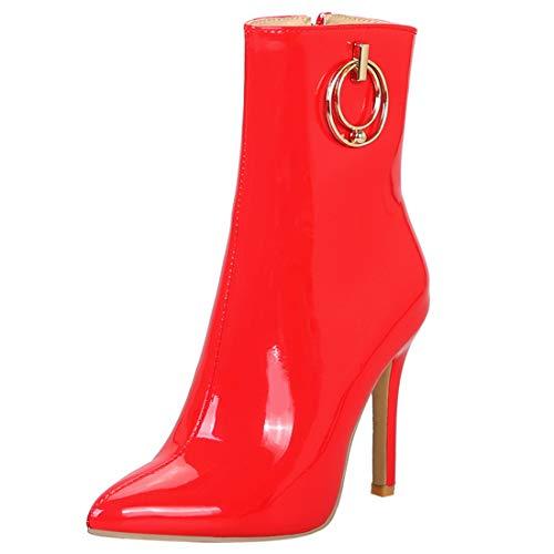 YE Damen Stiletto Lack Stiefeletten High Heels Ankle Boots Reissverschluss Stiefel Fashion 10cm...