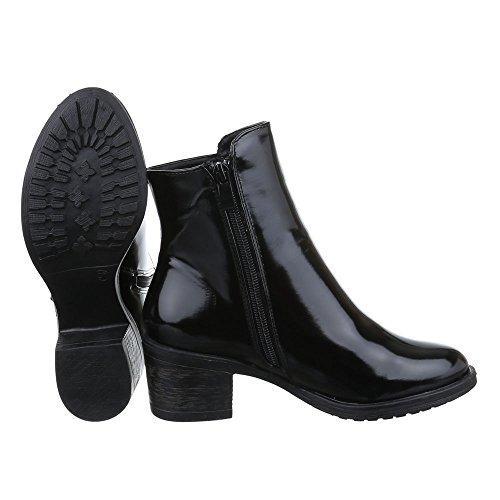 Damen Schuhe, AB996, STIEFELETTEN BOOTS Schwarz