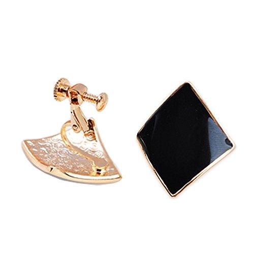 Latigerf Modeschmuck Vergoldet Damen Platz Schraube Non-Pierced Ohrclips Ohrring Clips für nicht durchbohrte Ohren für Mädchen Schwarz