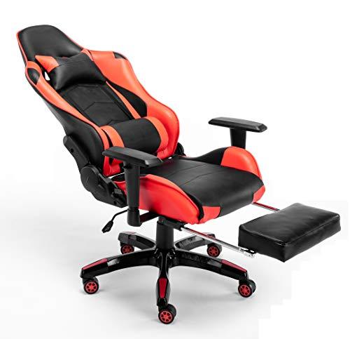 Racing Chaise de Bureau Ergonomique en PU Cuir, Pivotant...