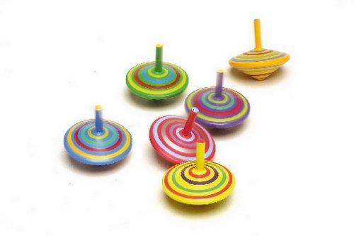 Kreisel aus Holz, sechs Stück mit farbenfroher Bemalung, toller Effekt beim Drehen