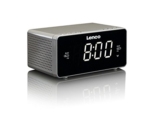 Lenco Radiowecker CR-530 Stereo Funk Uhrenradio mit 2 Weckzeiten, 1,2 Zoll LED Display, dimmbar, Sleep-Timer, Schlummerfunktion, Aux-Eingang, Grau -