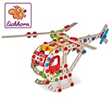 Eichhorn 100039048 - Hubschrauber 225-teilig Holz-Konstruktions-Set, 5 verschiedene Modelvarianten baubar, FSC 100%