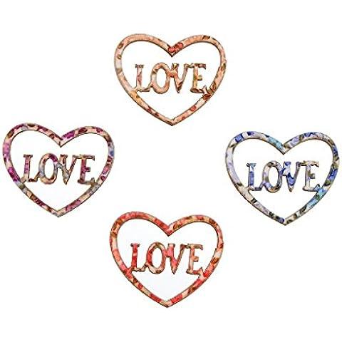 Liebe Engel Lettera Hollow Amore Bottoni a Forma Di Cuore Cucire Bottoni 50pcs