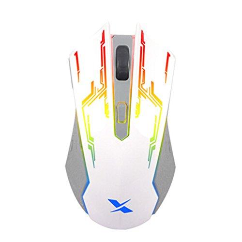 jaylinna Wired USB Hintergrundbeleuchtung Mäuse 1000/15000/2000Einstellbare DPI Gaming Maus (weiß)
