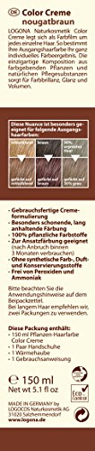 LOGONA Naturkosmetik Coloration Pflanzenhaarfarbe, Color Creme - 240 Nougatbraun - Braun, Natürliche & pflegende Haarfärbung (150g) - 2