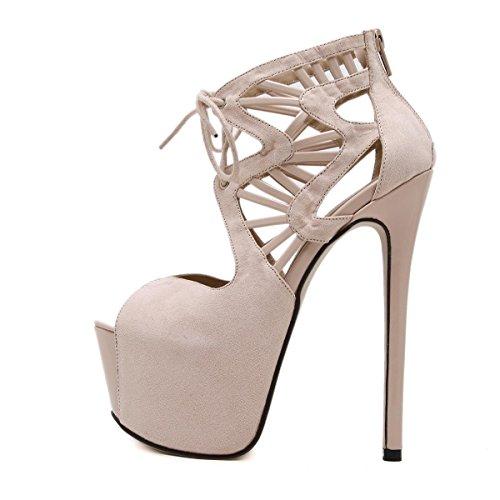 LvYuan-mxx Chaussures femmes talons hauts / printemps été / imperméable plate-forme sangles croisées bouche de poissons / bottes cool / Bureau et carrière Banquet robe / talon aiguille / sandales APRICOT-39