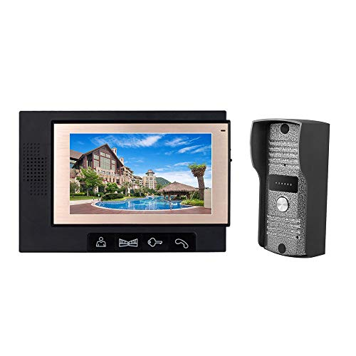 KKmoon Videoportero con Pantalla LCD de 7 Pulgadas, Intercomunicador de Vídeo, Soporte Visión Nocturna por Infrarrojos, Intercomunicador Bidireccional, Impermeable