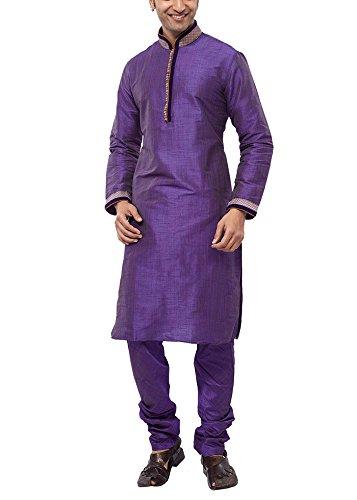 Manyavar Men's Silk Kurta Pyjama (8903035292650_S952392-339-L_Purplish Blue)