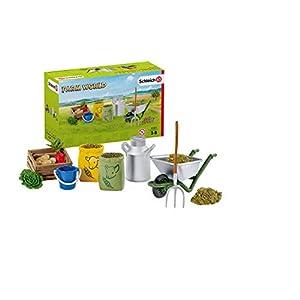 Schleich- Colección Farm World Set de Figuras de Alimentación de Animales de Granja, Multicolor (42301)