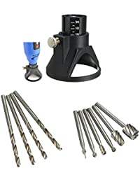 HITSAN INCORPORATION Drillpro Drill Carving Locator 4pcs 3mm Twist Drills And 6pcs Wood Milling Burrs For Rotary...