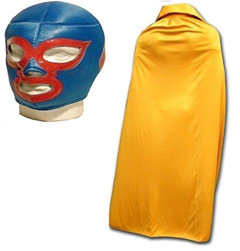 (Nacho Libre maske mit gold umhang erwachsene luchador ringer maske)