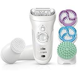 Braun Silk-épil 9 SkinSpa 9-969v - Sistema 4 en 1 de exfoliación, cuidado de la piel y depiladora con cepillo de limpieza facial adicional