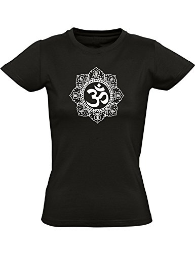 Baddery ESOTERIK Shirt Frauen - Om - ESOTERIK - Buddhismus - Yoga T-Shirt - Zen - Hinduismus - Aura - Chakras ESOTERIK T-Shirt Damen - Meditation - Aum Mehndi (L)
