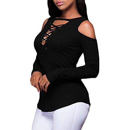 MORCHAN Femmes Sexy Solide sans Bretelles Col V Manches Longues T-Shirt Tops Blouse(FR-38/CN-M,Noir)