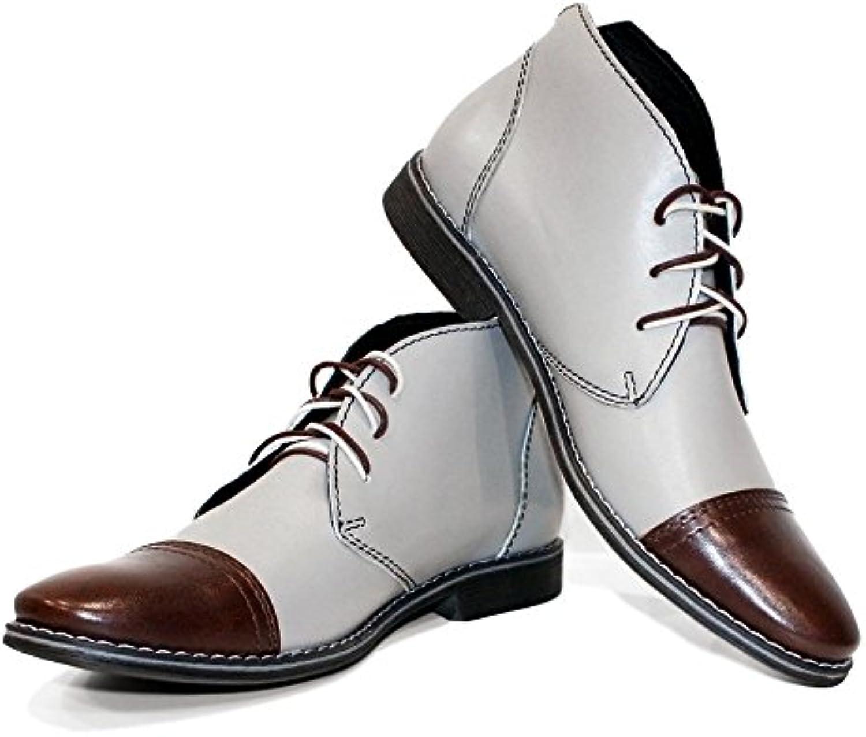 PeppeShoes Modello Snoki   Handgemachtes Italienisch Leder Herren Grau Stiefeletten Chukka Stiefel   Rindsleder