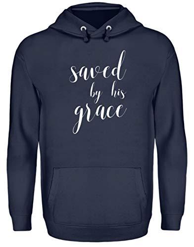 Shirtee Saved by his Grace - Christliches Statement Design Unisex Kapuzenpullover Hoodie -XXL-Oxford Navy