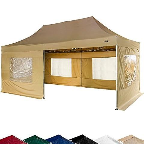 STILISTA® Faltpavillon 3x6m inkl. Seitenteile, WASSERDICHT, versiegelte Nähte, EV1 Voll-Aluminium,
